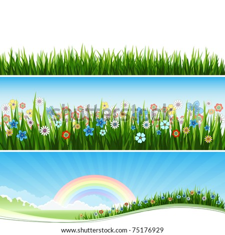 Three Spring or Summer banners with grass, flowers and sun. Vector - stock vector
