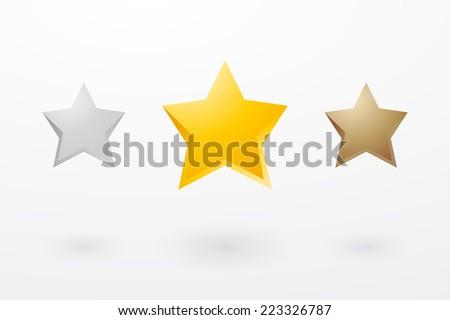 Three stars in metallic colors - stock vector