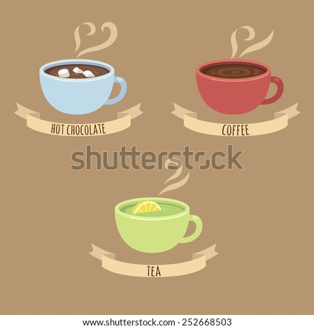 three steaming hot drink cups: hot chocolate, coffee and green tea, with captions on ribbons - stock vector