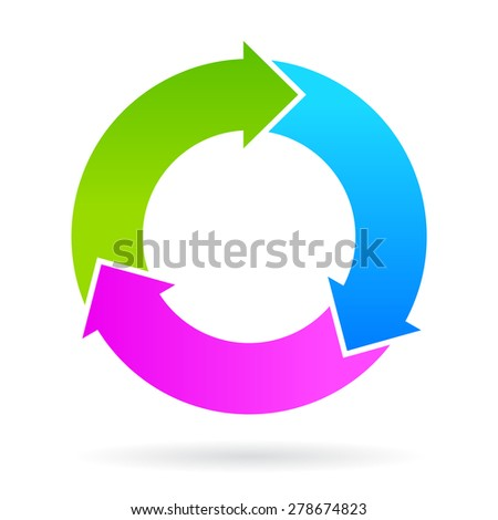 Three step cycle arrows diagram - stock vector