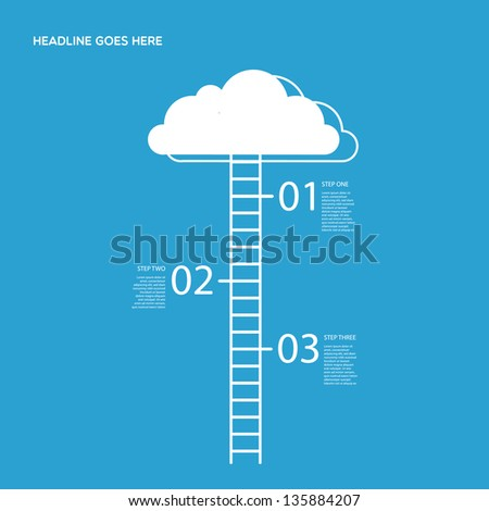 Three steps illustration with Cloud and stairs. - stock vector