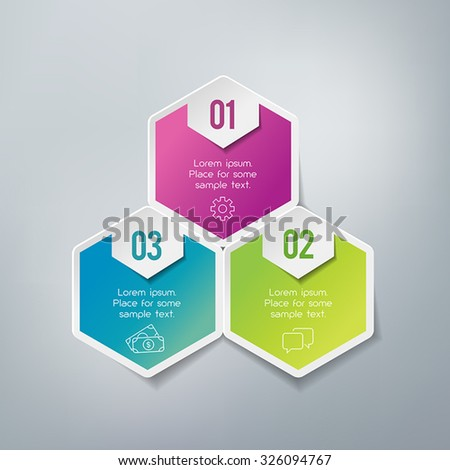Three steps infographics - can illustrate a strategy, workflow or team work. - stock vector