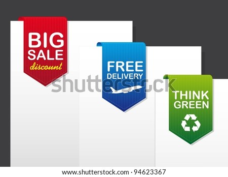 three tags over paper over gray background. vector illustration - stock vector