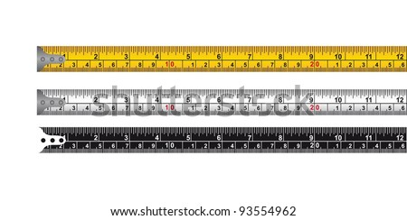 three tape measure isolated over white background. vector - stock vector