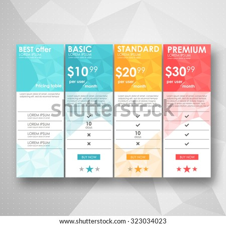 three tariffs. interface for the site. vector banner. Set offer tariffs. ui ux vector banner for web app. set pricing table, banner, order, box, button, list with plan for website in flat design - stock vector