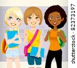 Three teenage schoolgirls back to school happy carrying folders and backpacks in front of school lockers - stock vector