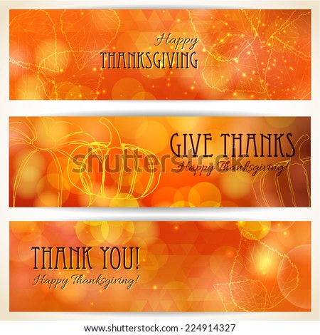 Three thanksgiving banners. Thanksgiving background design - stock vector