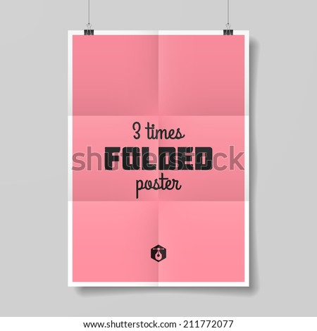 Three times folded poster. Vector. - stock vector