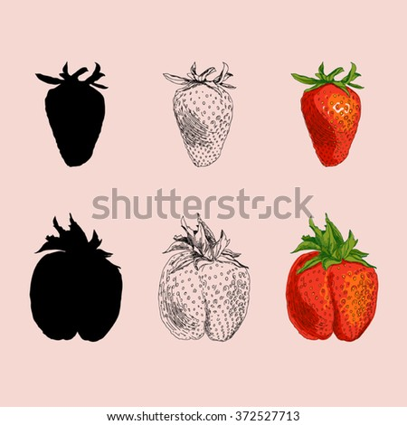 Three types of drawing strawberries (silhouette, lines, colored) - stock vector