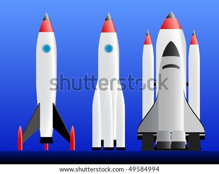 Three types of rockets ready to lounch - stock vector