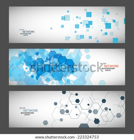 Three vector banner with abstract colored shapes. - stock vector