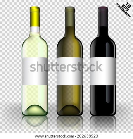 three vector bottle of wine transparent background  - stock vector