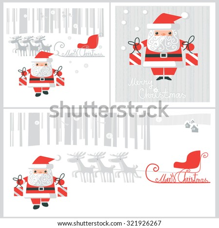 Three vector card with Santa Claus - stock vector