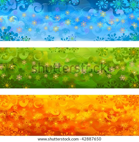Three vector floral banners - blue, green and orange - stock vector