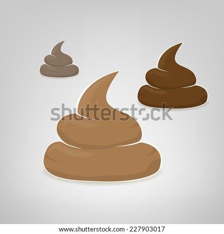 Three vector poops illustration - stock vector