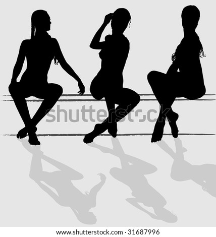 Three vector silhouettes of attractive young woman sitting - stock vector
