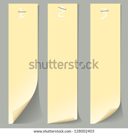 Three vertical numbered paper banners. Vector EPS10 - stock vector