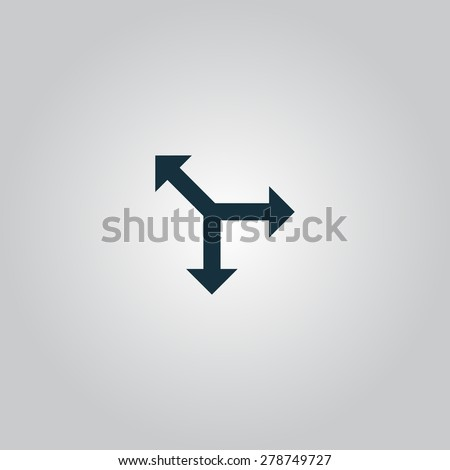 Three-way direction arrow. Flat web icon or sign isolated on gray background. Collection modern trend concept design style vector illustration symbol - stock vector