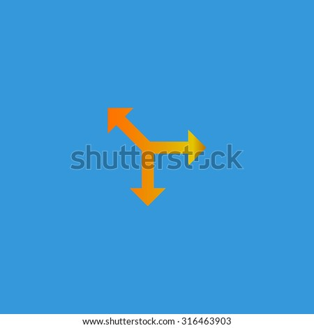 Three-way direction arrow. Orange vector icon isolated on blue background. Illustration trend symbol - stock vector