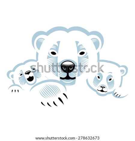 Three white polar bears - animals family - stock vector