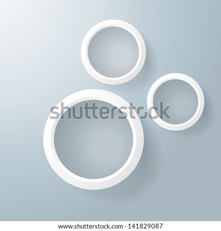 Three white rings with shadows on the grey background. Eps 10 vector file. - stock vector