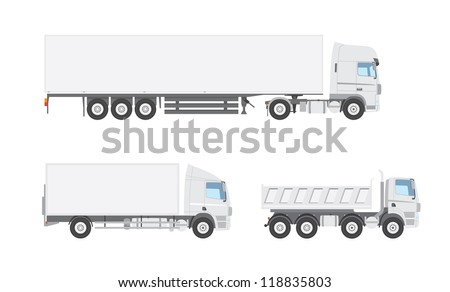 Three white vector trucks from a side view - stock vector