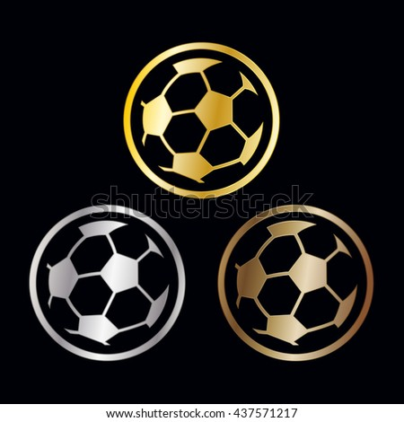Three winners awards for the soccer or football championships with outlined balls in gold, silver and bronze for first second and third placements, vector illustration - stock vector