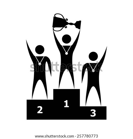 three winners on the podium with a trophy. Isolated on white. Vector illustration - stock vector