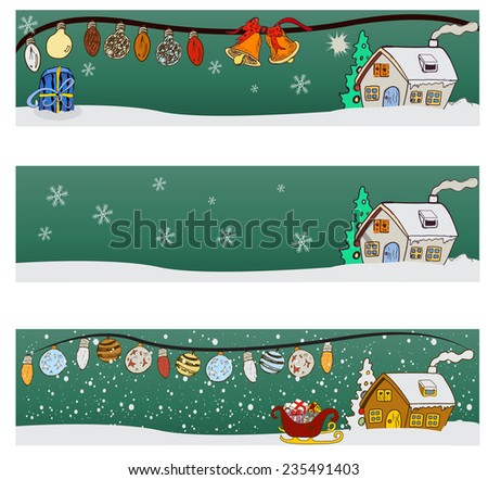 Three winter background banner images - part one - stock vector