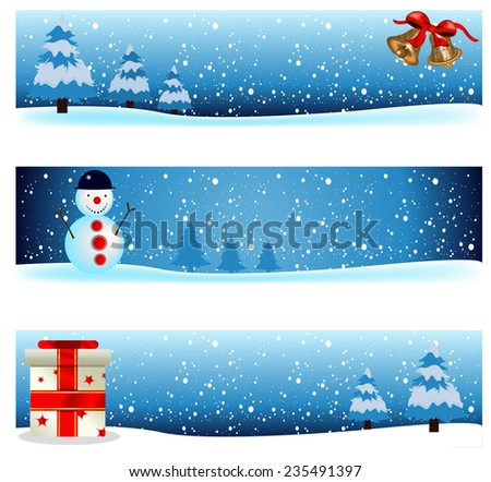 Three winter background banner images - part three - stock vector