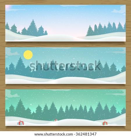 Three winter landscape banners. Vector illustration - stock vector