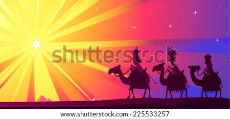 Three Wise kings following the Star of Bethlehem vector cartoon illustration - stock vector