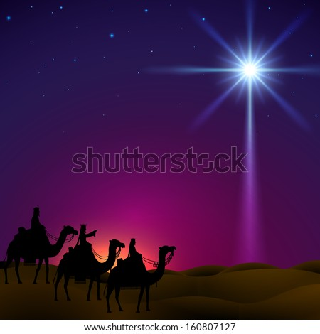Three wise men follow the star of Bethlehem. EPS 10, contains trasparency. - stock vector