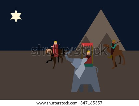 Three wise men from the East wander through the desert on a horse, camel and elephant, following the Star of Bethlehem. - stock vector