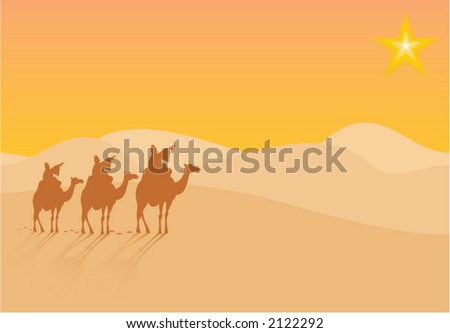 Three wise-men traveling to Bethlehem, following the star - stock vector