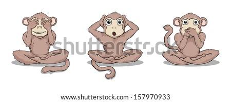 Three wise monkeys (see, hear, speak no evil), vector illustration - stock vector