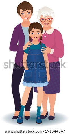 Three women: grandmother, mother and granddaughter/Grandmother with daughter and granddaughter/Stock illustration of three generations of women - stock vector