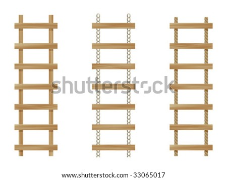 Three wooden ladders isolated on white background - stock vector