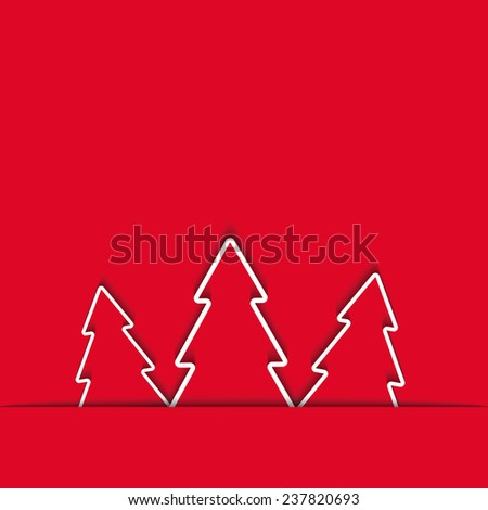 Three Xmas tree in the cut paper, winter background - stock vector