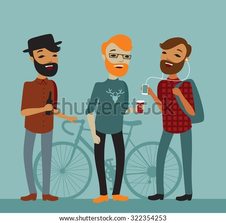 Three young boy hipsters vector cartoon characters - stock vector