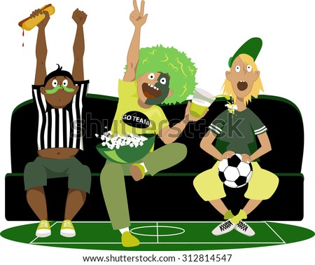 Three young guys watching a soccer game on TV, cheering, vector illustration, no transparencies, EPS 8 - stock vector