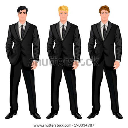 Three young handsome businessmen in formal suits with various hair color tints and haircut styles vector illustration - stock vector