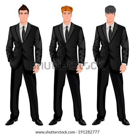 Three young handsome businessmen with trendy hairstyles for red, dark brown and chestnut haired man vector illustration - stock vector
