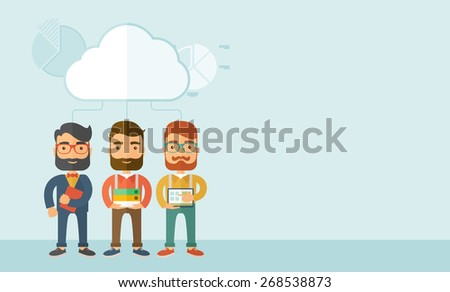 Three young managers working together with different ideas and task build their own business. Teamwork concept.. A contemporary style with pastel palette, soft blue tinted background with desaturated - stock vector