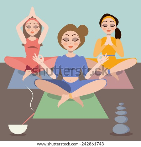 Three young woman doing yoga class, exercise, reaching zen, mindfulness  - stock vector