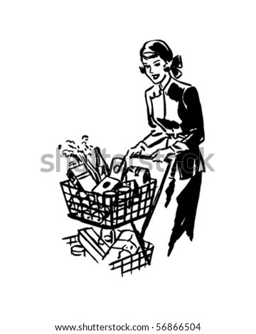 Thrifty Shopper - Retro Clip Art - stock vector