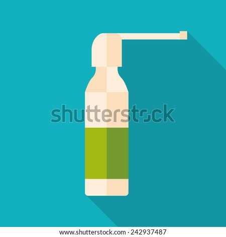 throat spray bottle icon with long shadow. flat style vector illustration - stock vector