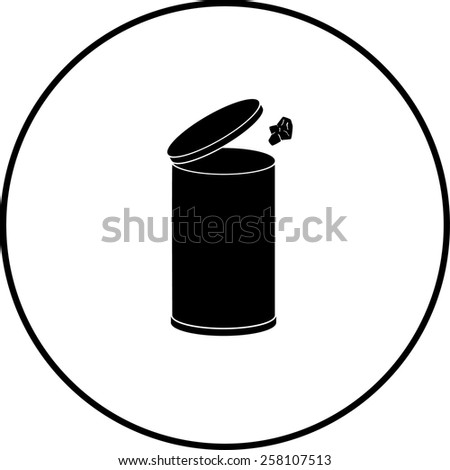 throwing away a paper in a trash can symbol - stock vector