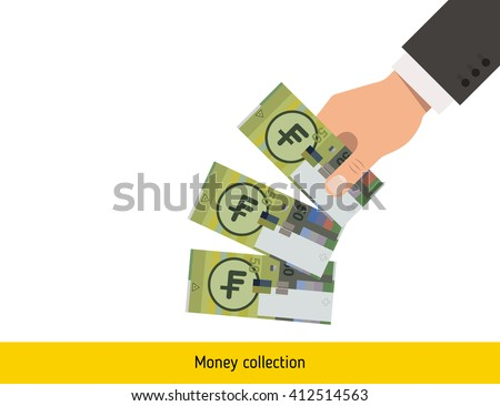 Throwing three franc. Swiss franc banknote. - stock vector