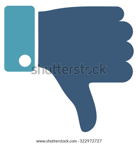 Thumb Down vector icon. Style is bicolor flat symbol, cyan and blue colors, rounded angles, white background. - stock vector